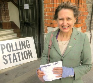 Judith Bunting votes at Newbury Town Hall in Victoria ward by-election May 9th 2013