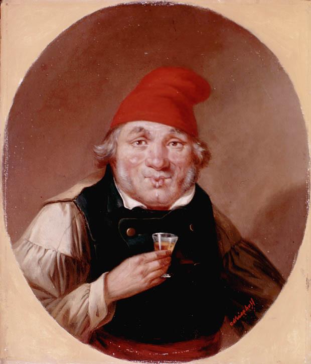 A French Canadian Habitant drinking. c.1853 by Cornelius Krieghoff