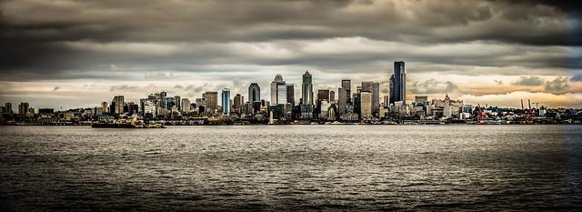 Panorama view of Seattle Skyline along the Puget Sound - Seattle Washington