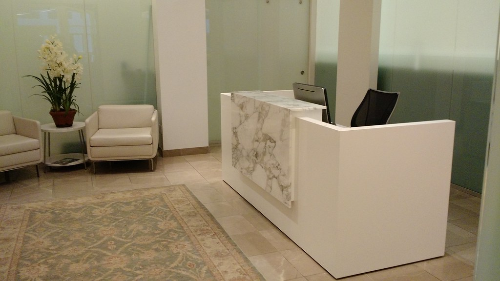 Cascade Reception Desk With Marble Waterfall Arnold