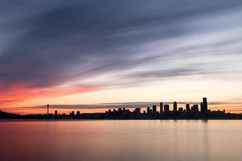 longexposure seattle sunrise pugetsound water skyline city buildings pacificnorthwest pnw canon motion blur surreal spaceneedle reflection cityscape clear day canoneos7d canonef2470mmf28lusm bwnd1000x washington