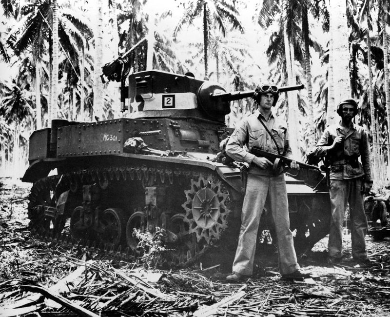 U.S. soldiers with their M3 tank