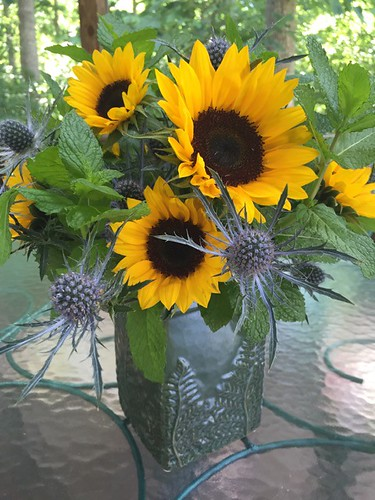 Sunflowers and Eryngium - Photo Courtesy Carol Caggiano, AIFD, PFCI | by Flower Factor
