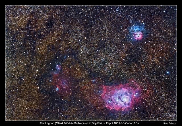 Lagoon-Trifid Nebulae (M8 M20) 20-25 degrees above the horizon. DSLR image (Explore)