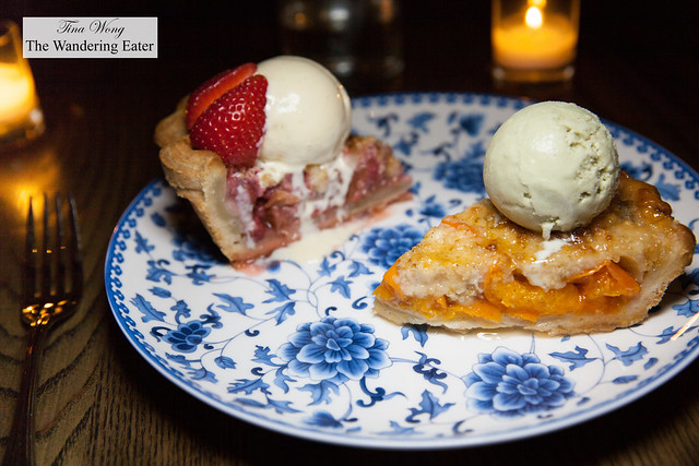 Rhubarb pie topped with housemade vanilla ice cream and Apricot pie topped with pistachio ice cream