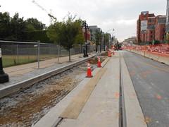 3rd Street streetcar stop construction