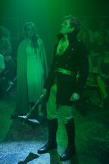 Thu, 2013-09-05 21:59 - July of the Seven Foxes (Kay Kron) brings King Casper (Brandon Ruiter) to the nefarious dragon Irek Obsidian. Photo by Michael Brosilow.