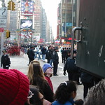 Looking down at times square during parade