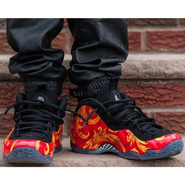 wholesale dealer d3bd1 4afcd Early on foot look of the Red Supreme Nike Air Foamposite ...
