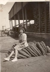 Winnie Howard at the Calomba Wheat Stacks early 1950s.