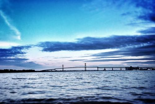 bridge blue sunset camp ontario canada water waves dusk july johnstown stlawrenceriver digitalcameraclub 2013 friendsforlifebikerally visipix ogdensburg–prescottinternationalbridge fflbr15