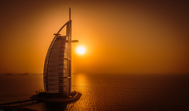 Sunset over the Burj Al Arab, Dubai