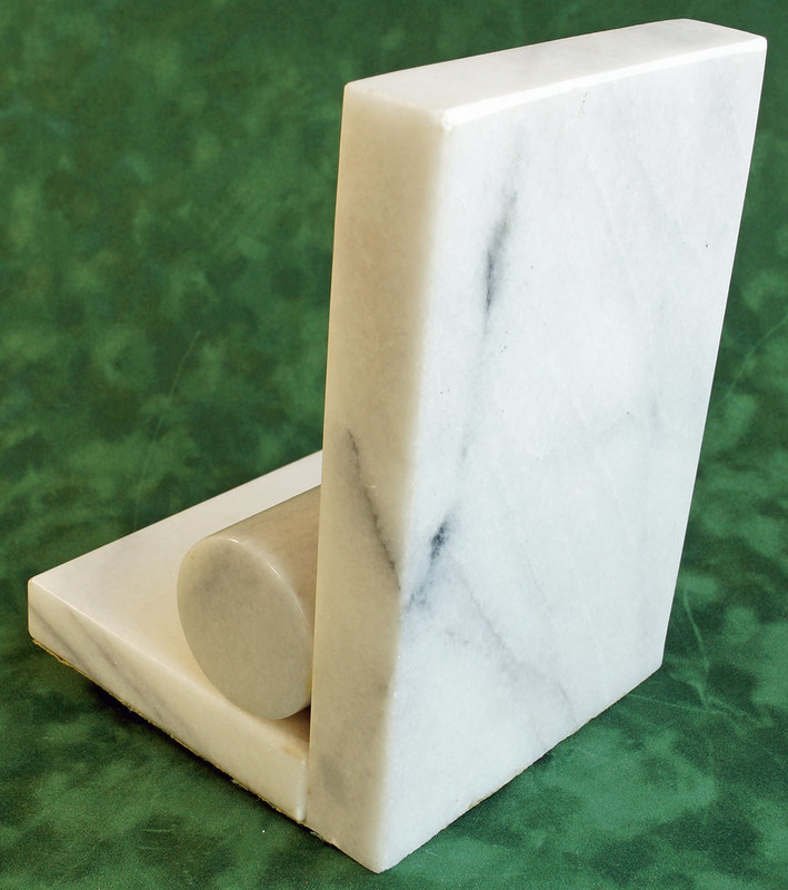 RD1393 Vintage White and Gray Marble Bookend DSC05305