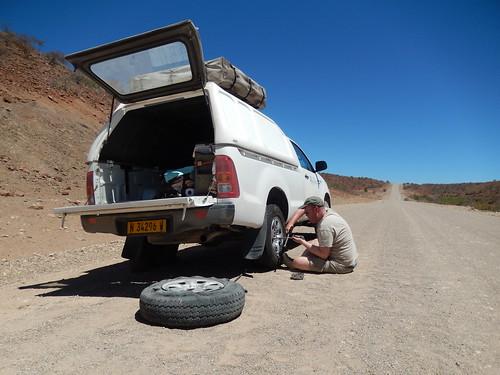 Tussen Sesfontein en Palwag - panne 2