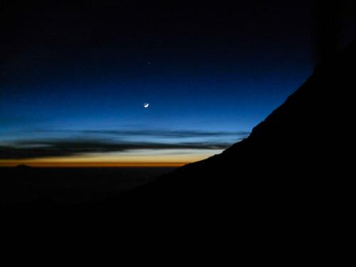 africa sunset kilimanjaro tanzania dusk moonrise 2010