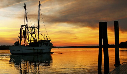 sunset river boats south may shrimp carolina bluffton