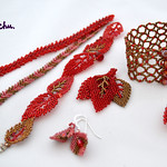Valentines set 2014. Red, Gold leaf bracelet, earrings, etc.