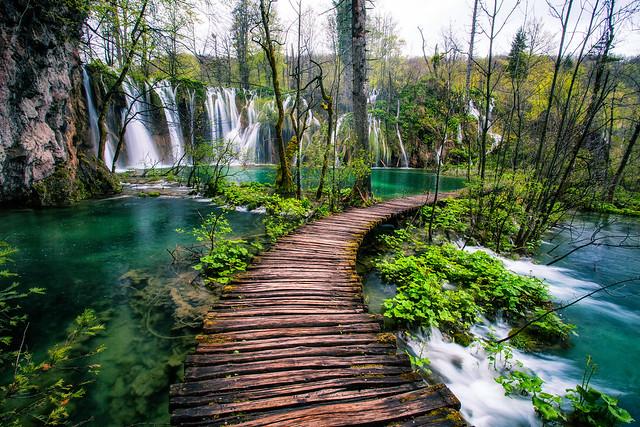 Plitvice Lakes Croatia Waterfall Walkway by Michael Matti