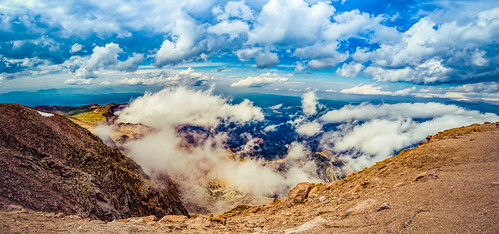 sky panorama cloud mountain nature weather rock stone landscape outside outdoors serene hdr pikespeak