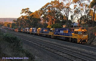 NR114-NR89-BL26-BL30-NR10 with 1WX2 steel goods to Port Augusta via Melbourne, ex Port Kembla at Broadford (14/4/2014). | by Bradley Matthews Photography