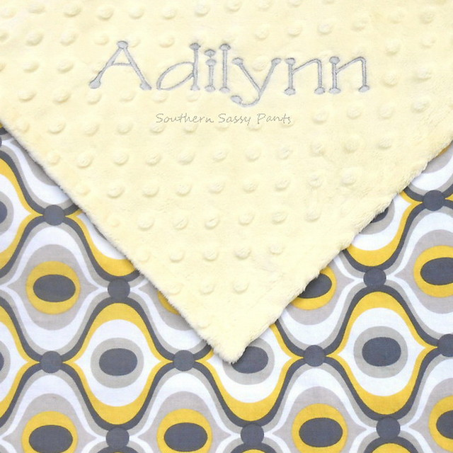 Yellow and Gray Baby Blanket - Personalized Baby Gift