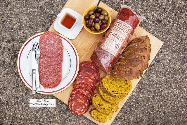 Uncured chorizo, hard salame from Daniele and a loaf of tumeric and walnut bread