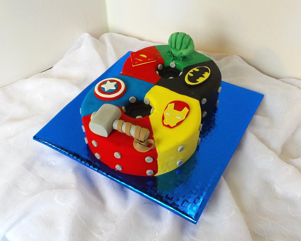 Number 8 Shaped Superhero Birthday Cake