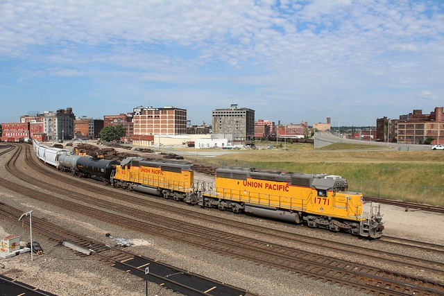 A pair of Union Pacific SD40N's lead a transfer through the West Bottoms in Kansas City MO. 6/25/16
