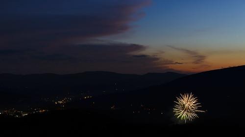 city sunset sky cloud mountains color lights evening twilight fireworks dusk explosion hills valley firecrackers