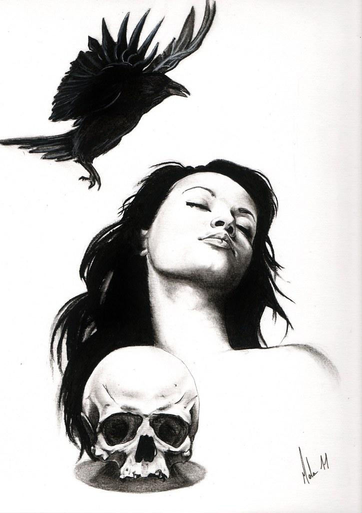 Dessin De Femme Crane Corbeau Réaliste Noir Et Blanc Flickr