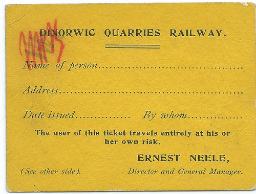 Dinorwic Quarry Railway staff pass undated | by ian.dinmore
