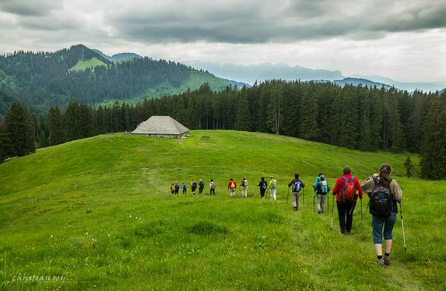 Randonneurs dans les préalpes fribourgoises (Switzerland)