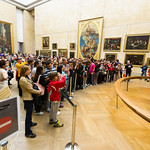 The crowd of people looking at the Mona Lisa, Louve