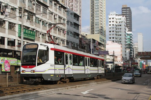 Phase I LRV 1023 on Castle Peak Road in Yuen Long
