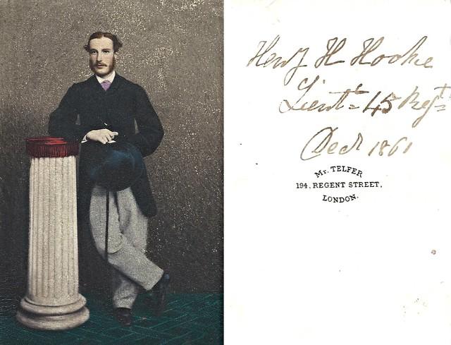 Lieutenant Henry Hodson Hooke, 45th Regiment of Foot, 1861 (Tinted CDV by Telfer, 194 Regent Street, London)