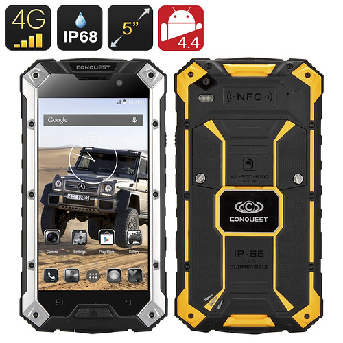 $356.53 – Conquest S6 Plus Rugged Smartphone – IP68 Waterproof, Dust Proof, 4G, Dual SIM, MTK8732 Quad Core CPU, 2GB RAM, NFC (Yellow) | by shopsmileprize