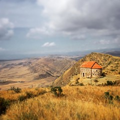 A lonely church atop a mountain. Azerbaijan to the left, Georgia to the right.