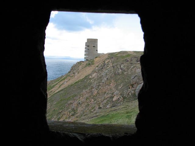 German World War II lookout tower on the coast