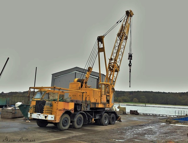 Foden at work on boatyard with a Neal's crane
