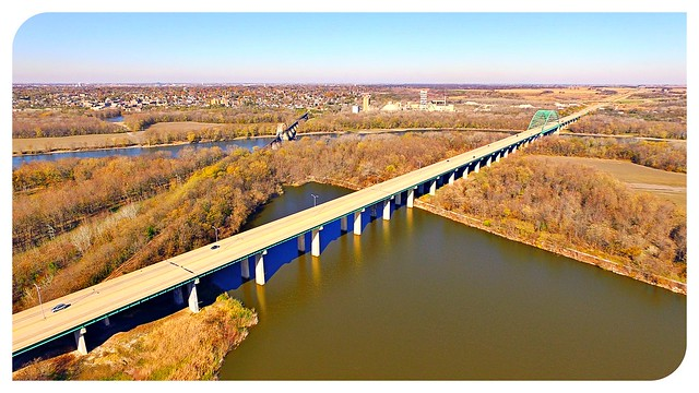Illinois River bridge. I-39 crossing the Illinois River valley on the Abraham Lincoln Bridge