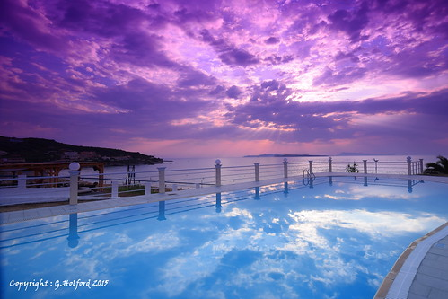purple blue filters cokin sunset reflection pool corfu greece nikon d5300 seaside sky clouds shore landscape outdoor colour colourful evening sanstefanos stephanos twin arty