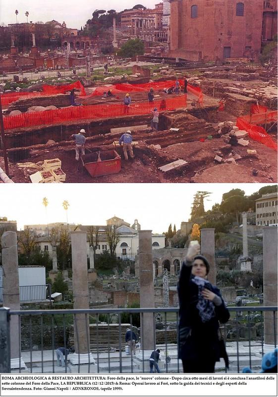 """ROMA ARCHEOLOGICA & RESTAURO ARCHITETTURA: Foro della pace, le """"nuove"""" colonne - Dopo circa otto mesi di lavori si è conclusa l'anastilosi delle sette colonne del Foro della Pace, LA REPUBBLICA (12 12 2015) &  Foto: G. Napoli   ADNKRONOS, (aprile 1999"""