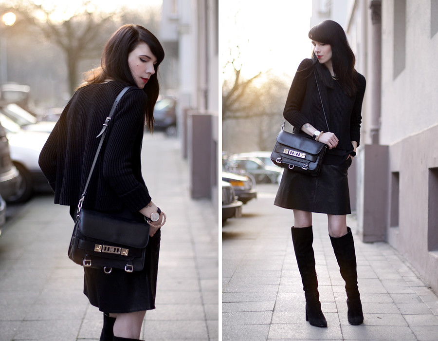 outfit black leather skirt suede overknee boots proenza sc