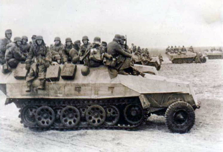 SdKfz 251s loaded with infantry
