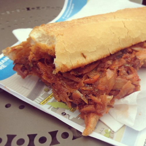 Polish sausage and sauerkraut sandwich from the market | by Texarchivist