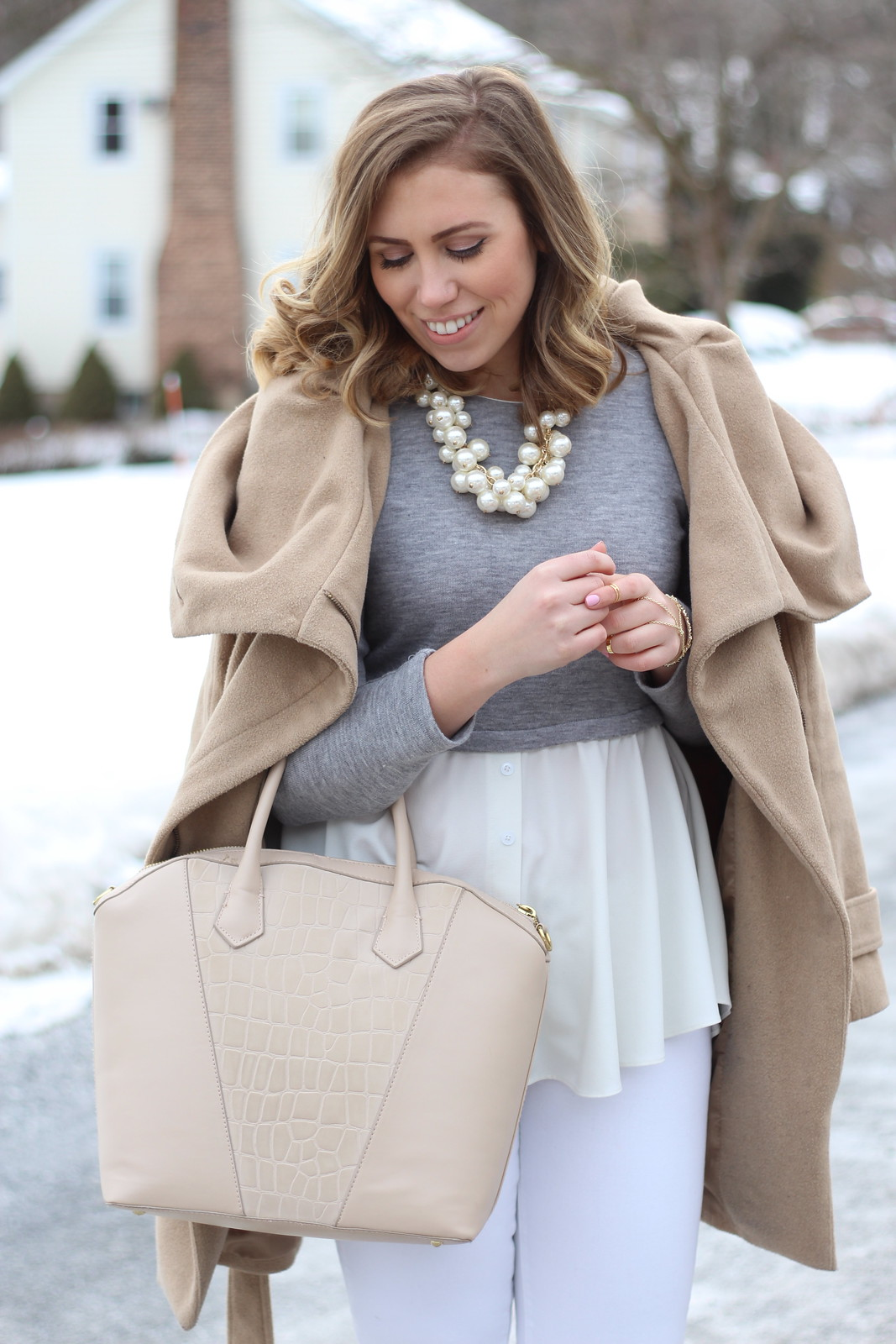 Winter Neutral Outfit | Camel Coat | Pearl Cluster Necklace | White Jeans | A Look Back at 10 Years of Blogging Living After Midnite Blogger Jackie Giardina