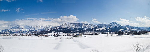 winter mountain snow mountains ice japan train rice paddy niigata ricefield tanada