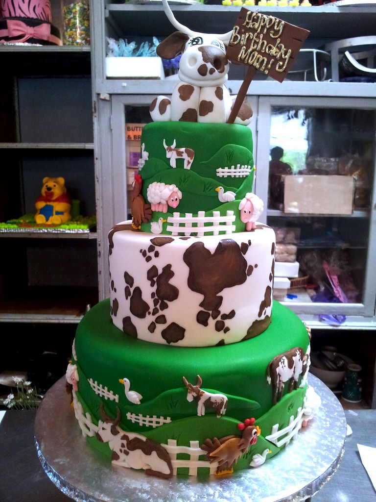 Incredible 3 Tier Farm Themed Cake Birthday Cake With Fondant Icing Flickr Funny Birthday Cards Online Sheoxdamsfinfo