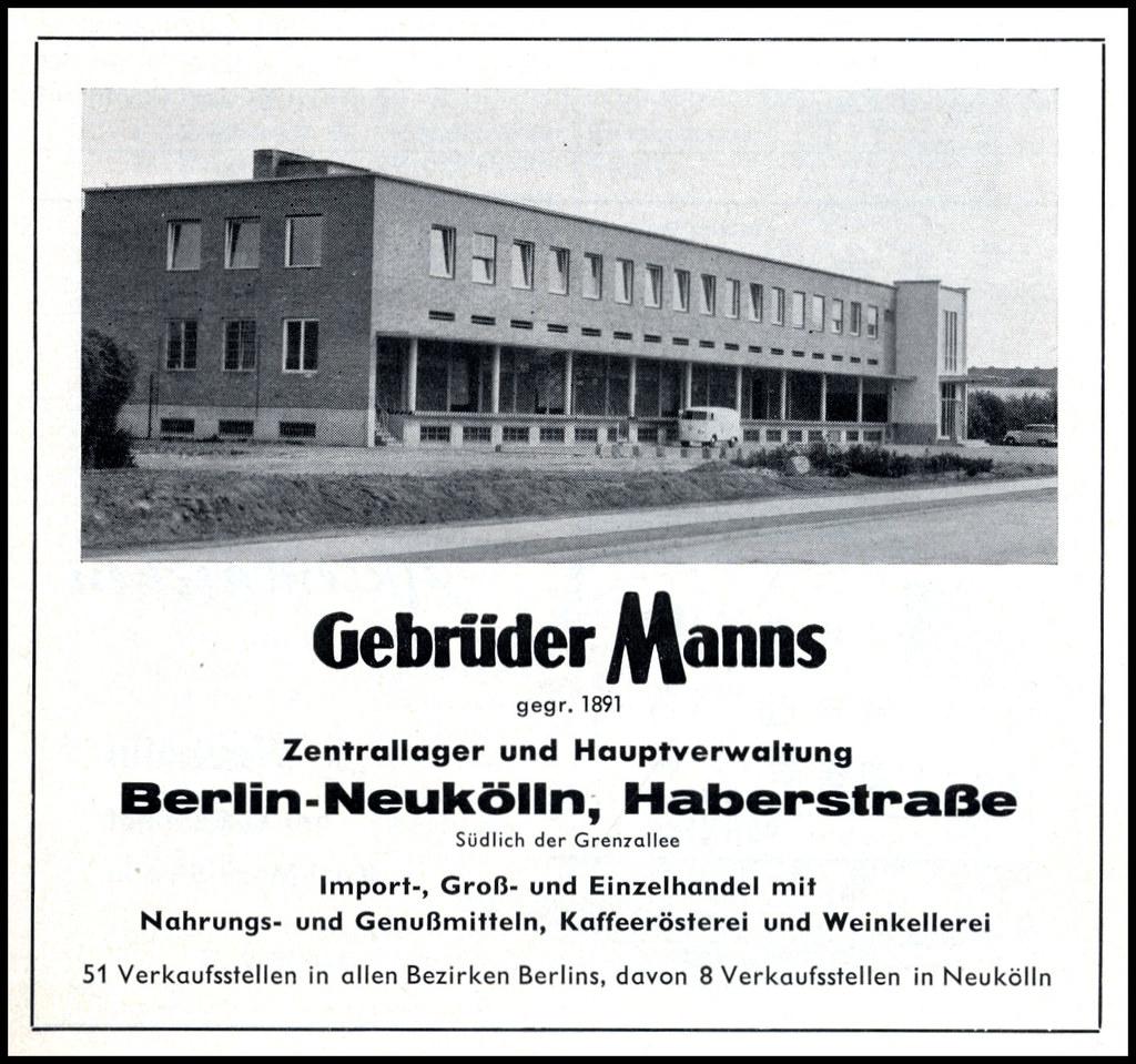 Gebrueder Manns Berlin Neukoelln | 1960 german ad - Berlin ...