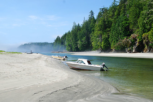 Pachena River enters Pachena Bay, Bamfield, West Coast Vancouver Island, British Columbia